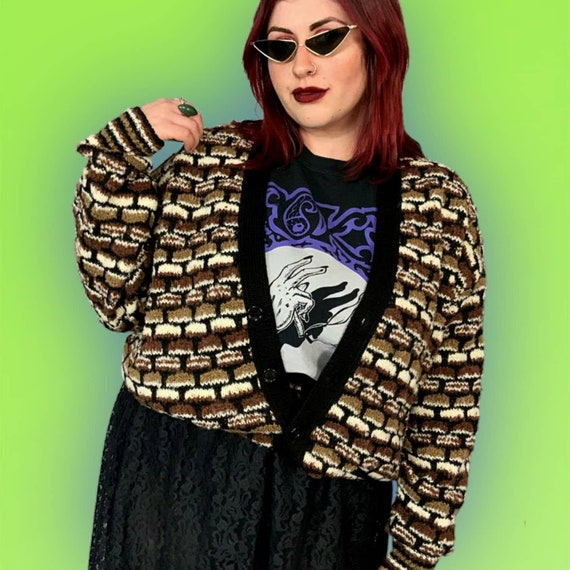 80's Knit Cardigan Sweater L-XL Adult - Earth Tone Brown Black Vintage Acrylic Mohair Wool Layer - Button Front V-neck Casual Slouchy Cardi