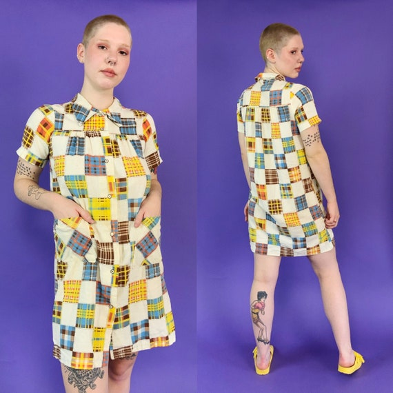 60's Vintage Patchwork Print House Dress Snap Fro… - image 1
