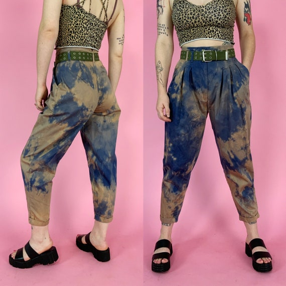 """90's Blue Brown Tie-Dye Womens Trousers 28"""" High Waist - Vintage Unique Bleach Dyed Grunge Casual Loose Tapered Cotton Pants - Earth Tones"""