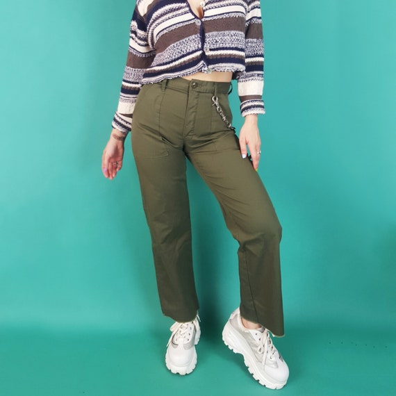 Vintage Olive Green Pants Small High Waist - Vintage Military Army Pants - Highwaisted Olive Drab Khaki Green Pants with Raw Frayed Hem