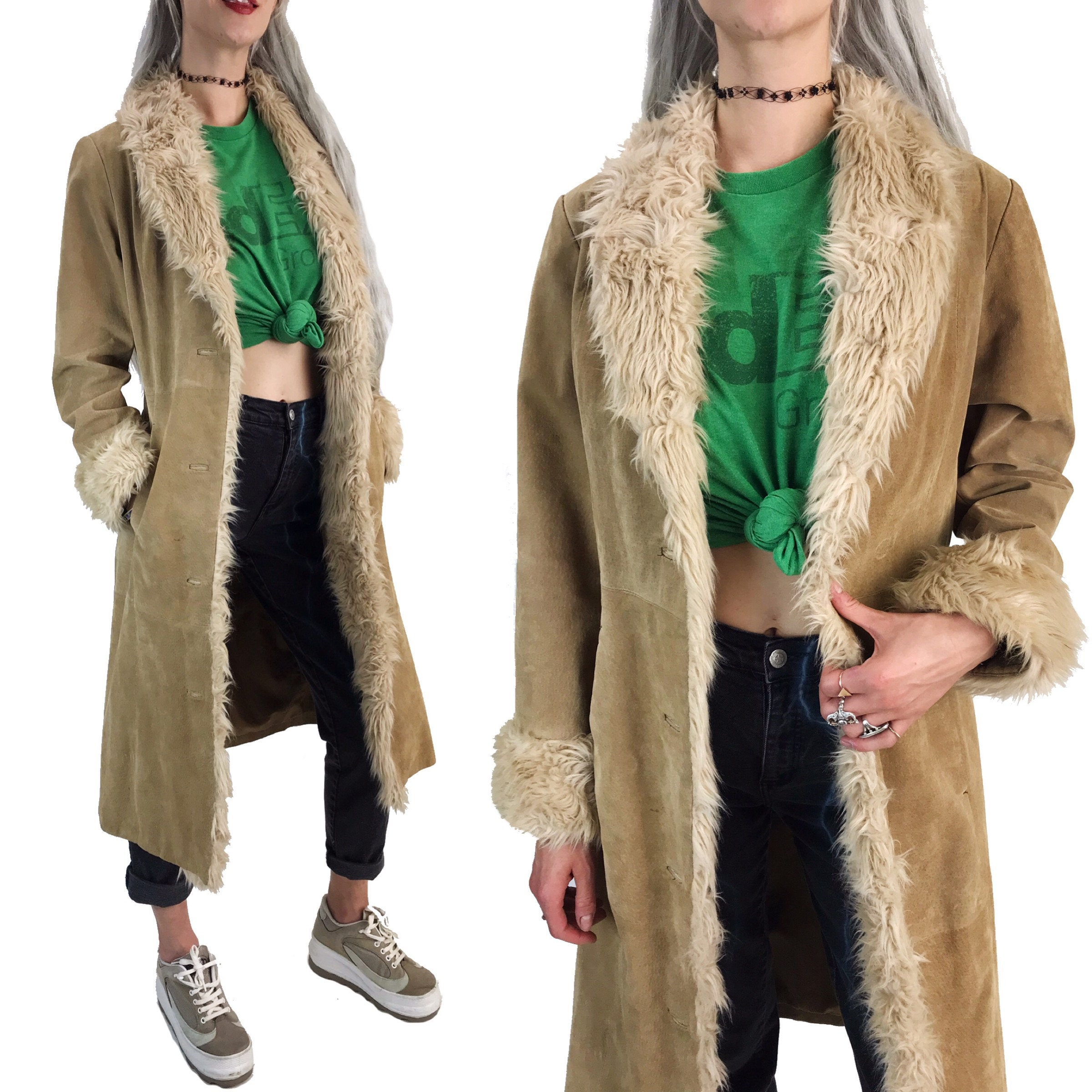 Almost Famous Faux Fur Trimmed Suede Coat: 90's Suede Leather Furry Trim Coat S/M