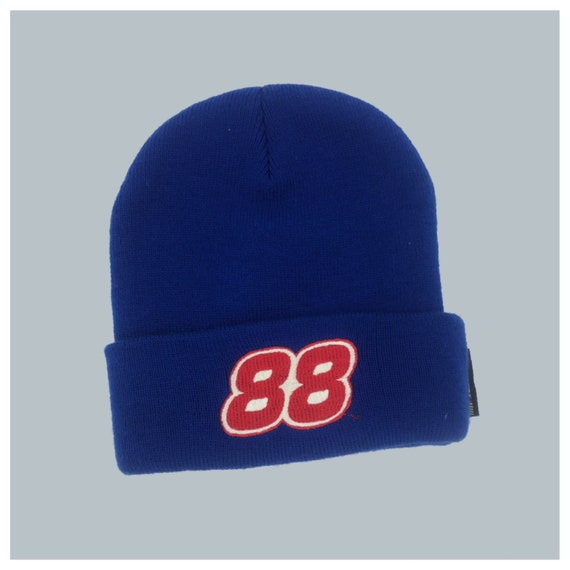 90s NASCAR #88 Dale Jr. Vintage Patch Beanie - Royal Blue Racing Logo Toboggan Hat Unisex Grunge Accessory - Winter Sporty Accessory Hat