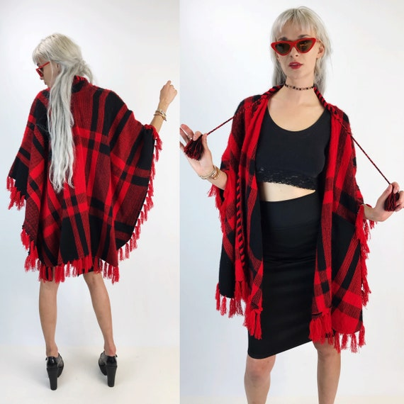Vintage Tartan Poncho Shawl Cape One Size - Red Black Plaid Woven Winter Poncho - Soft Warm Blanket Coat Traditional Fringe Boho Outerwear