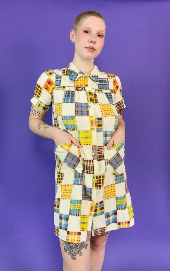 60's Vintage Patchwork Print House Dress Snap Fro… - image 10