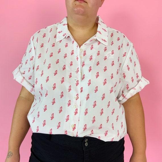 RARE 80's Bobs Big Boy Diner Deadstock Mens Waiter Uniform Top 2X-3X Plus - Eighties Allover Print Big Boy Button Up Diner Shirt w/ Collar
