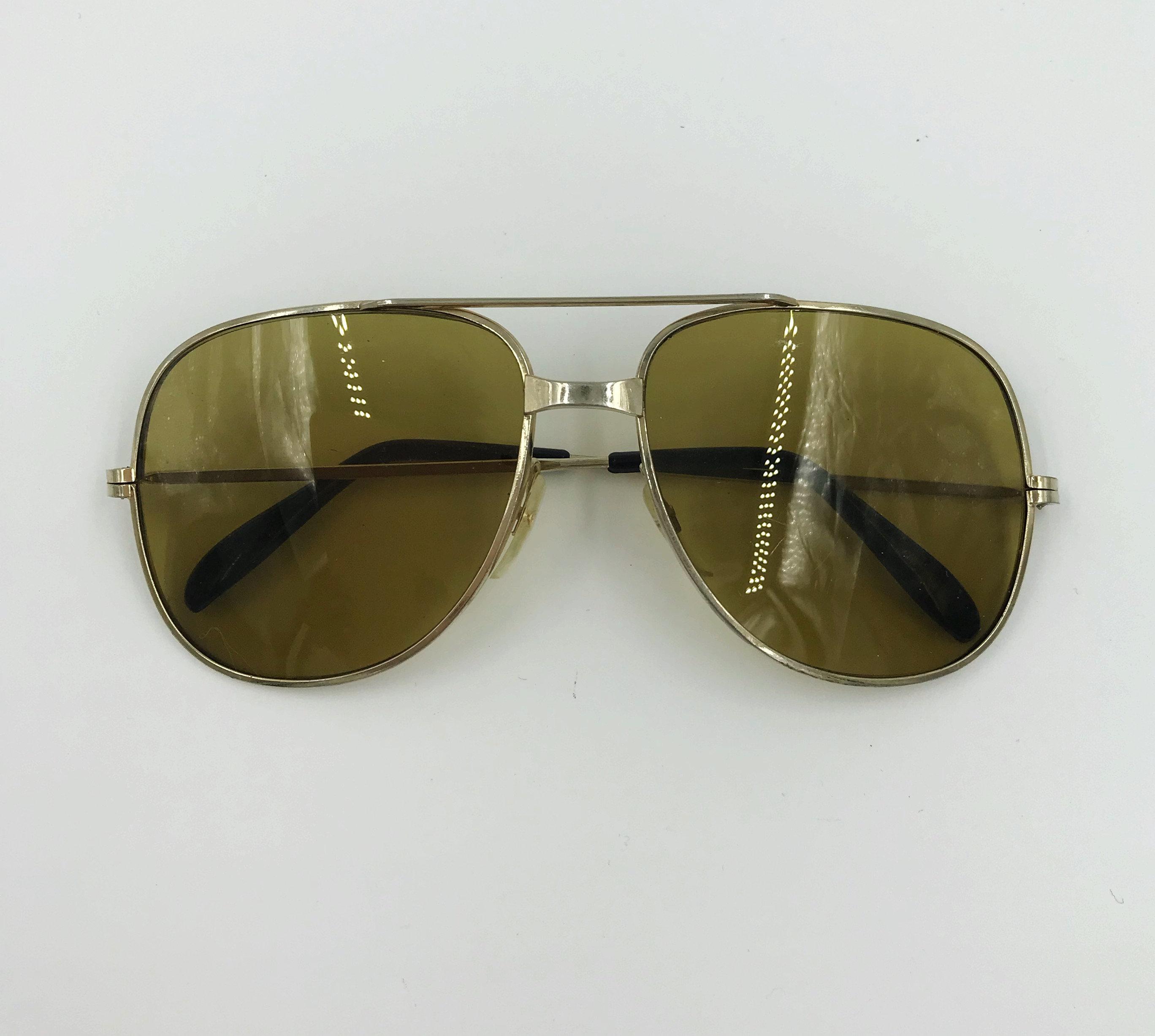 c40c46020b3 70 s Sunglasses Vintage Aviator Mens Retro Seventies Hippie Shades - VTG  Gold Tone Sunglasses Large Brown Tinted Sunnies Eyewear. gallery photo .
