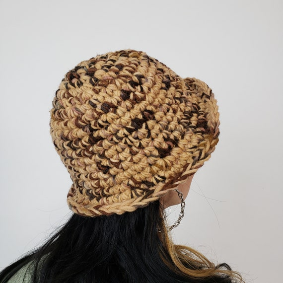 Handmade Crochet Bucket Hat - Unique Brown Multi Womens Knit Hat - Soft Handknit Fall Winter Upcycled Wool Yarn Bucket Hat Natural Tan
