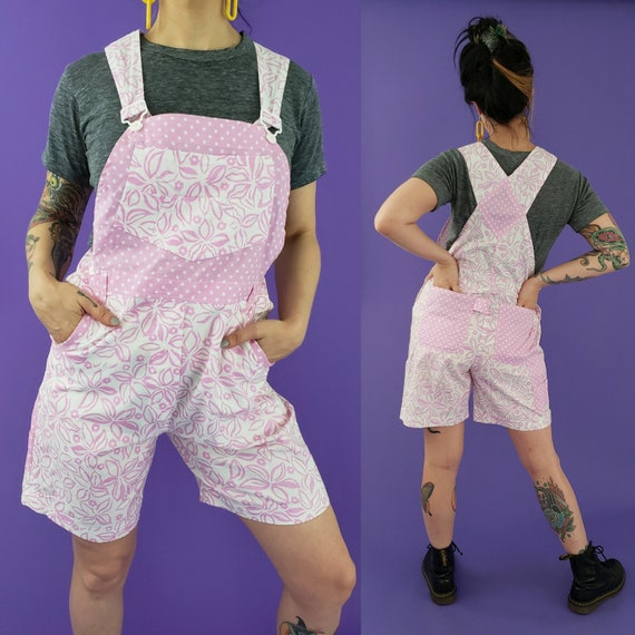 90s Pink & White Floral Overall Shorts Small Medium - Summer Retro Jumper Shorts Overall - Vtg Casual Polka Dot Overall Shorts One Piece