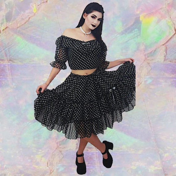 Vintage Ruffle Two Piece Top + Skirt Small Medium - Womens Ruffled Vtg All Over Pattern Polka Dot Black + White Lolita Dress Coords 2 pc Set