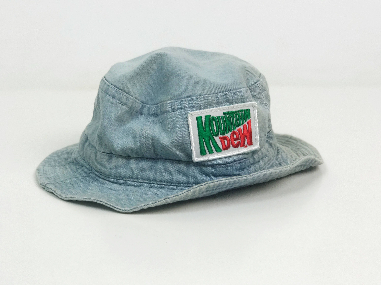 cd48544588b 90 s Mt. Dew Denim Bucket Hat - Soda VTG Mountain Dew Denim ...