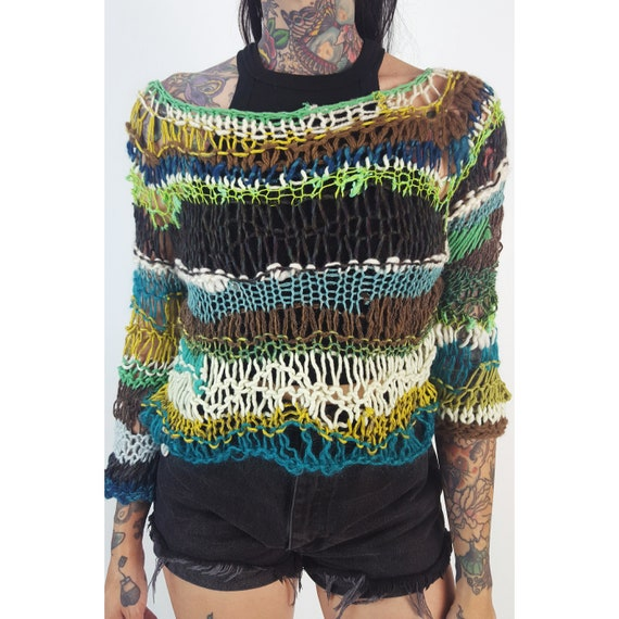 HANDMADE Boho Hand Knit Long Sleeve Top - Womens Small Holey Grunge Top - Open Holes Sheer See Through Women's Eco Friendly Sweater Knits