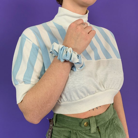 80's Reworked Cropped Mock Neck Tee w/ matching Shrunchie Medium - Upcycled Vintage Casual Set- Pastel Blue Striped Crop Pullover 1 of 1