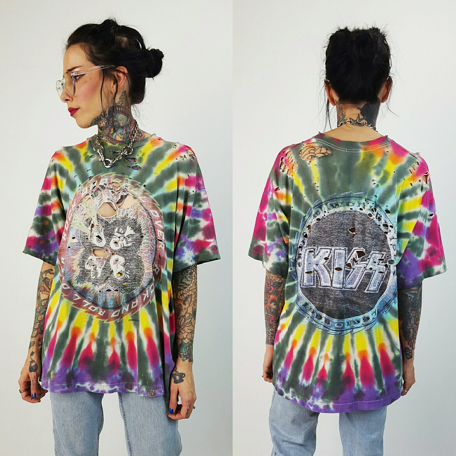 90s Kiss Tour Tee Xl Holey Unisex Alive Worldwide Concert T Shirt