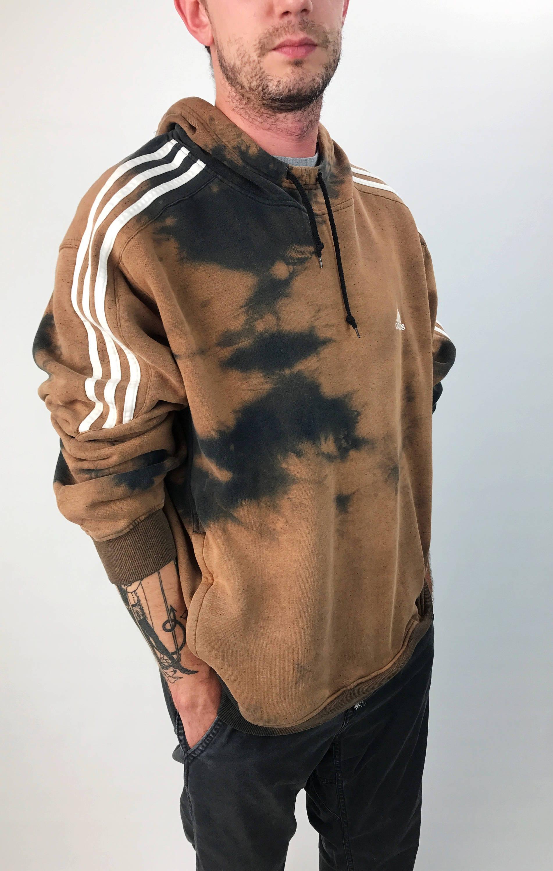 Adidas Tie Dye 3 Stripe Sleeve Bleached Long Sleeve Hoodie