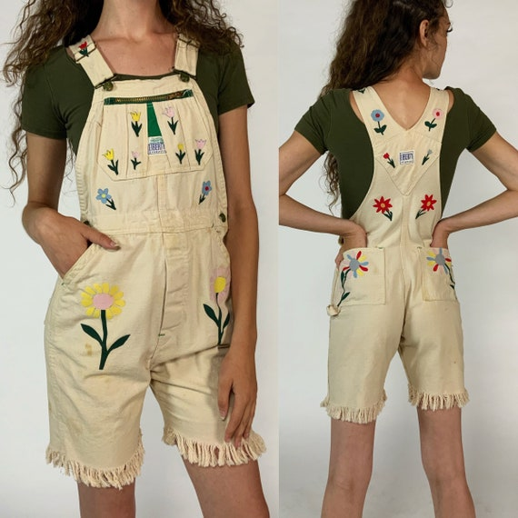 70's Floral Applique Denim Overalls Shorts Small US 4 - Liberty Overalls Bibs Hipster Spring Cute Frayed Shorts - VTG Unique Upcycled Denim
