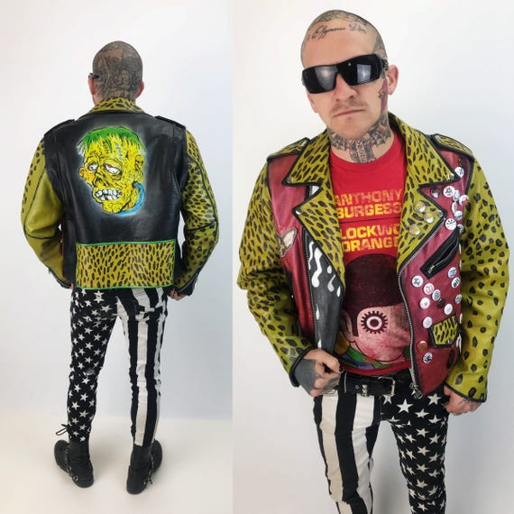 Vintage Punk Jacket Hand Painted Leather Mens 40 Large - White Zombie Leopard Print Black GRUNGE Leather Unique Jacket W/ Patches & Buttons