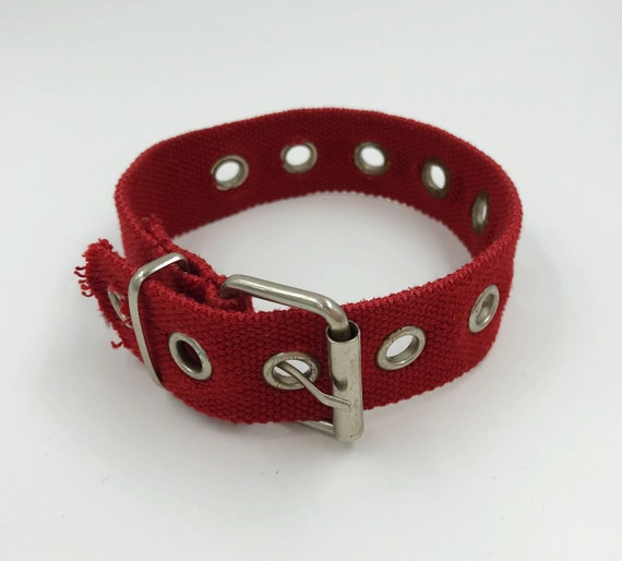 Grommet Choker Necklace Cherry Red Thick Handmade Upcycled Belt Style Statement Choker Accessory One of a Kind y2K 2000's Trendy Jewelry