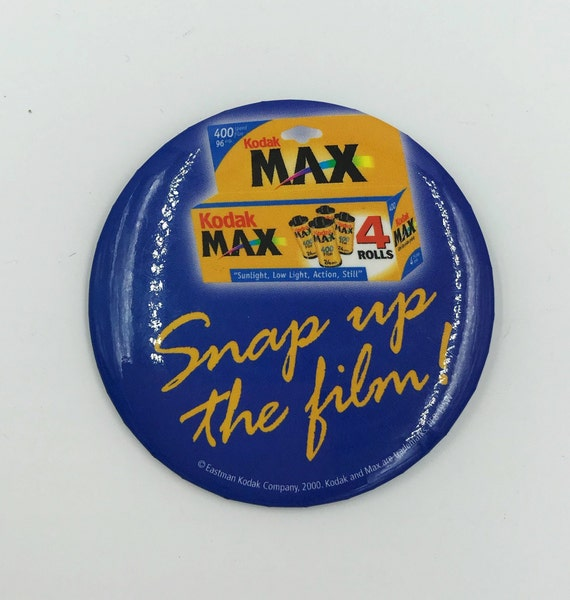 "3"" Large Pinback Button - Snap Up The Film KODAK Camera Film Button/Pin Large Pinback Y2K Brand Ad Badge - Weird 90s Kodak Pinback Button"