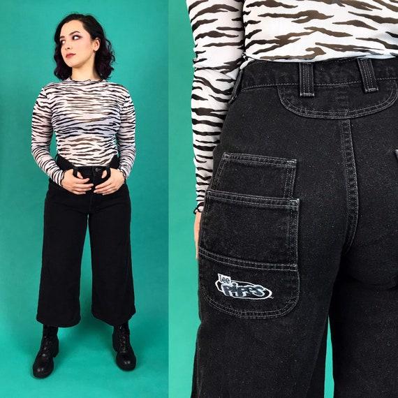 "90's Black Lee Pipes Wide Leg Denim Light Wash Size 30"" High Waist - Boys Skater Pants Grunge Wide Leg  Baggy Capri Casual LOGO Jeans"