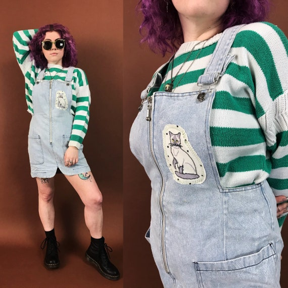 90's Cat Patched Overalls Dress Zip Up Jumper Medium - Light Wash Upcycled VTG Blue Jean Mini Skirt Overalls - One Off Denim Jumper Skirt