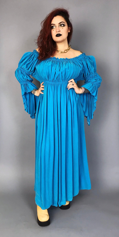 b8ee614e4780 Handmade SILK Renaissance Dress Ruffle BOHO Maxi Dress M L ...