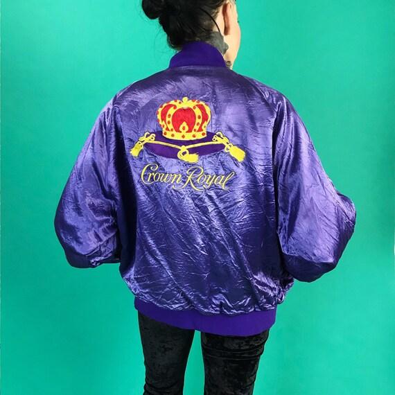 Vintage Crown Royal Satin Windbreaker Bomber Jacket Adult Medium - RARE 80s/90s Purple Crown Royal Back Logo Jacket - Canadian Whisky Logo