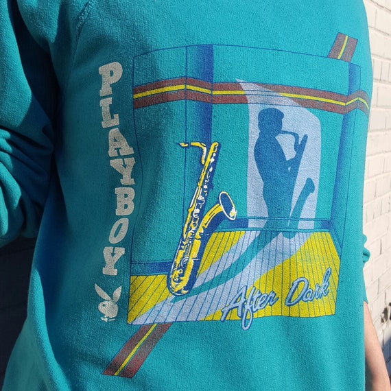 80s Vintage Playboy Sweatshirt Large - Teal Turquoise Blue Bunny Shirt Vtg - Soft Faded Retro  1980s Mens Womens Unisex Long Sleeve Top