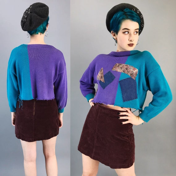 80s Color Block Patched Knit Cropped Pullover Small Medium - Long Sleeve Frayed Hem Crop Top Soft Grunge Mixed Prints Remade Funky Fall Knit