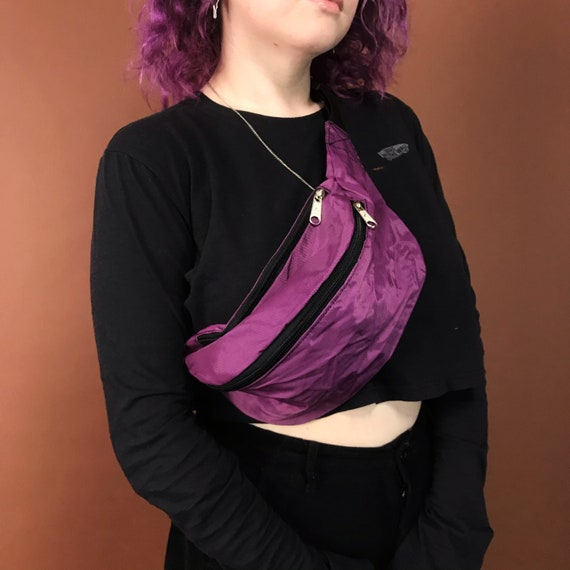90's Deadstock Neon Fanny Pack - Solid Pink OR Purple Basic Summer Belt Bag - Oversized Bum Bag Unisex Hip Purse Vacation Bag Never Worn