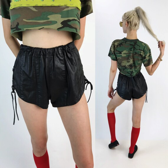 80's Black Leather High Waist Biker Babe Shorts Small - High Cut Elastic Waist Shorts with Lace Up Sides - Cheeky Goth Booty Shorts Vintage