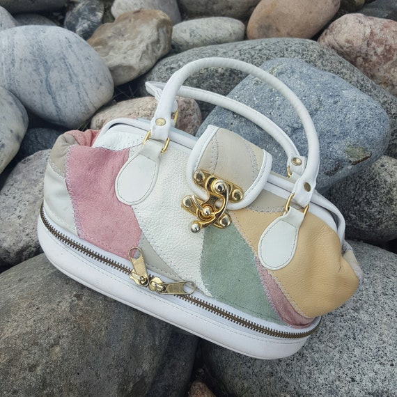 80's White Faux Leather Purse With Gold Hardware - Vintage Pastel Vegan Suede Patchwork Mini Purse - Small 1980s Ivory White Tiny Handbag