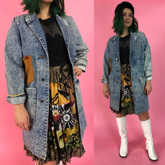 80's Acid Wash Upcycled Unique Long Jean Jacket - Remade Vintage Multi Pocket Denim Waist Coat - Weird Fun Layer w/ Contrast Pockets Added