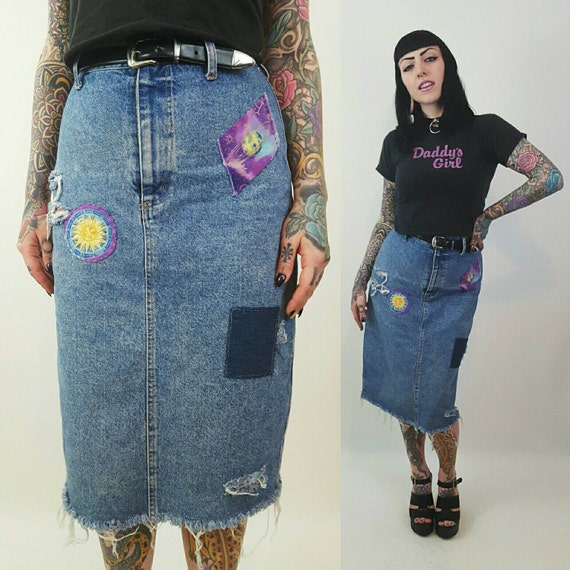 Patched High Waist Denim Midi Skirt Size Medium - Highwaisted Celestial Jean Skirt Shredded Raw Hem Holey Distressed Acid Wash 90s Vintage