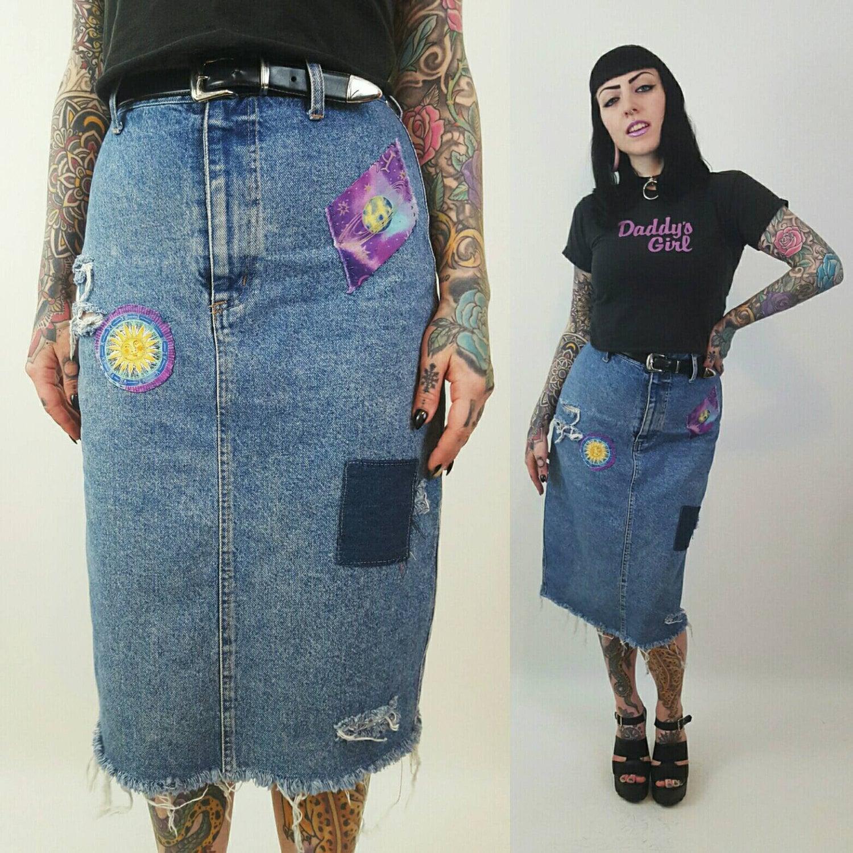 af3a0351a7 Patched High Waist Denim Midi Skirt Size Medium - Highwaisted Celestial  Jean Skirt Shredded Raw Hem Holey Distressed Acid Wash 90s Vintage