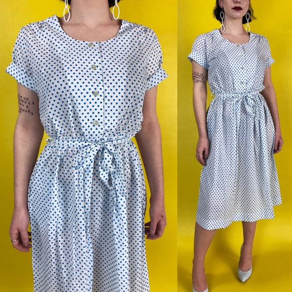 80's Polka Dot Blue White Feminine Cotton Day Dress Size 4/6 - Pin Up Housewife Girly Short Sleeve Printed Button Casual Front Midi Dress