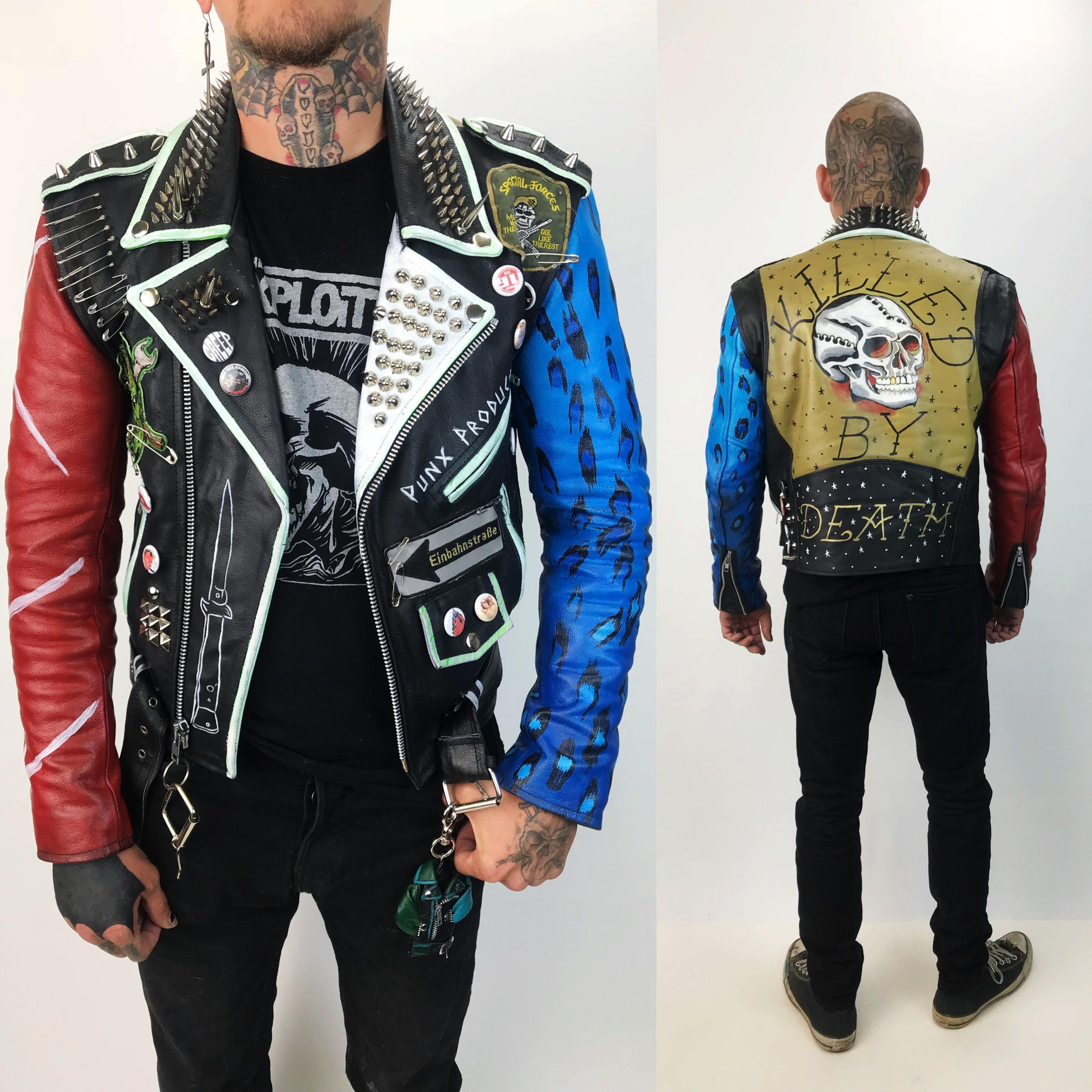 Vintage Spiked Leather Punk Jacket Mens Small 32 - Red ...