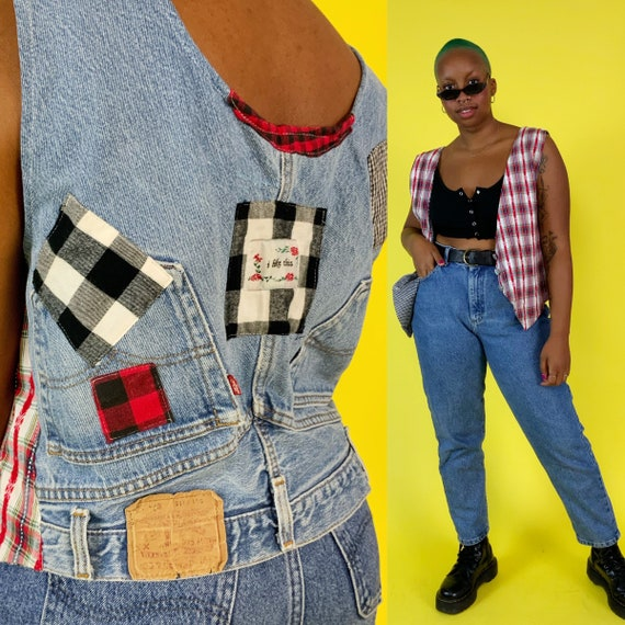 90's Upcycled Levis Jean Vest - Womens Vintage Quirky Patched Plaid Jean Grunge Vest - Unique RARE Nineties Fall Layer - Reworked Jeans