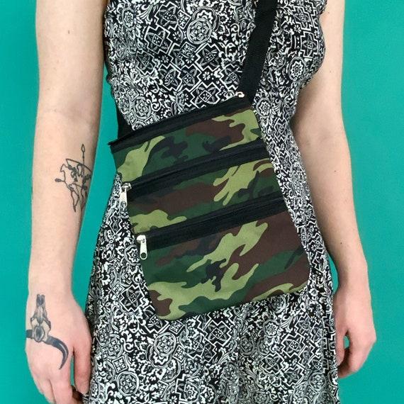 Y2K Camo Crossbody Zipper Mini Bag - Adjustable Flat Lay Multi Pocket Travel Pouch - Camouflage Print Small Olive Green Streetwear Crossbody