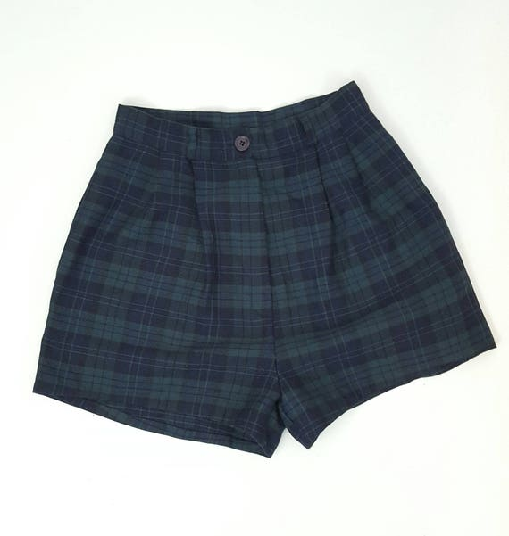 90's Plaid Pleated Mini Short XS Small - Tartan High Waist Pleated Mini Shorts Forest Green - Ecofriendly Remade Upcycled Womens Shorts 3 4