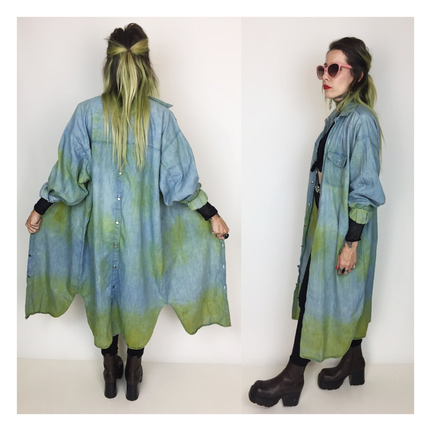 d92070999ab ... Medium - Unisex GRUNGE Long Denim Duster Jacket Button Up Rustic Shirt  Dress. gallery photo ...