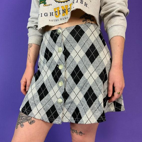 "90's Argyle Mini Skirt Small High Waist 28"" - Iconic Argyle Cute Casual Button Front Vintage Schoolgirl Preppy A- Line Mini Skirt"