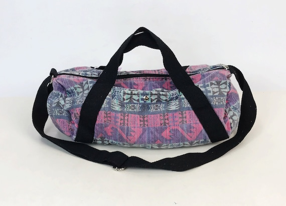 80s/90's All Over Print Duffel Bag Carry All  Bag Travel Bag - Slouchy Tote Bag Soft Cotton Denim Luggage Pink Purple Funky Colorful Gym Bag