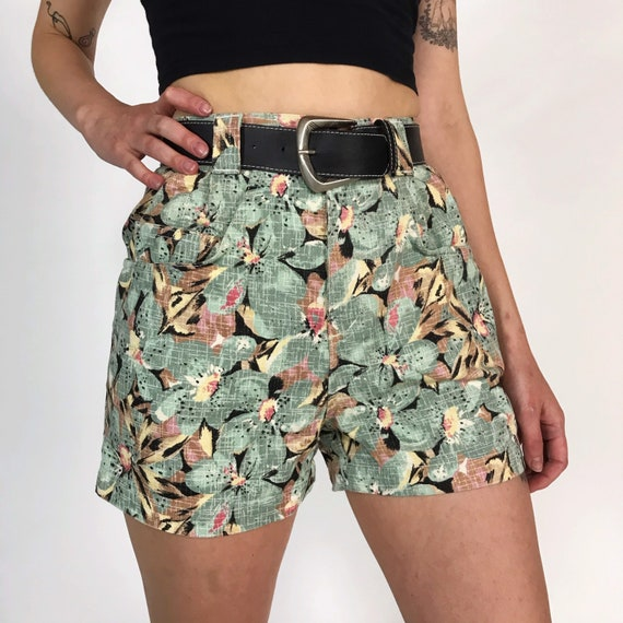 90's Deadstock High Waist Floral Jean Shorts - Multi Sizes Available Summer Denim Shorts with Belt - Vintage Allover Print Green Jean Shorts