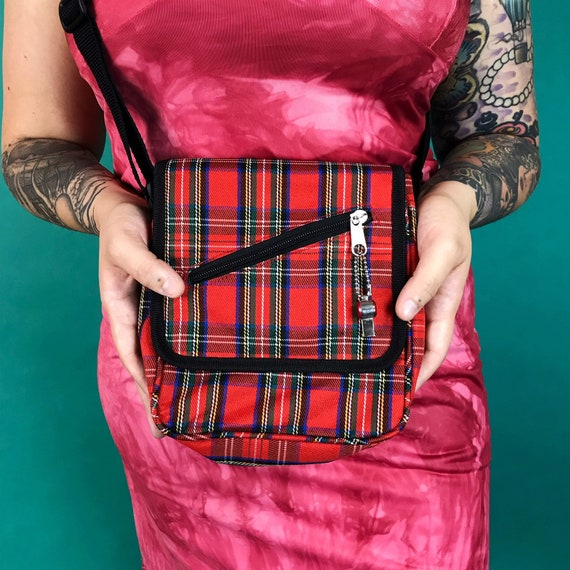 90's Red Plaid Mini Crossbody Purse - Grunge Skater Derby Girl Plaid Bag - VTG Y2K Everyday Goth School Girl Plaid Mini Bag w/ Charm Zipper