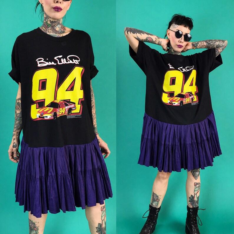 a143357c3a53 90 s NASCAR Drop Waist T-shirt Dress Medium Upcycled