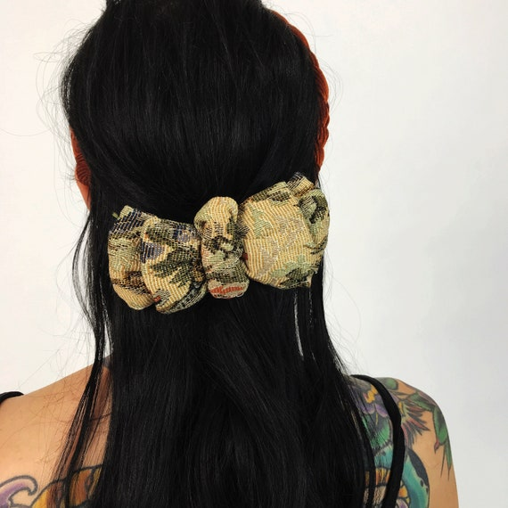 90's Floral Fabric Hair Bow French Clip - VTG Textile Upholstery Fabric Accessory Statement Bow - Handmade French Clip Barrette Girly Bow