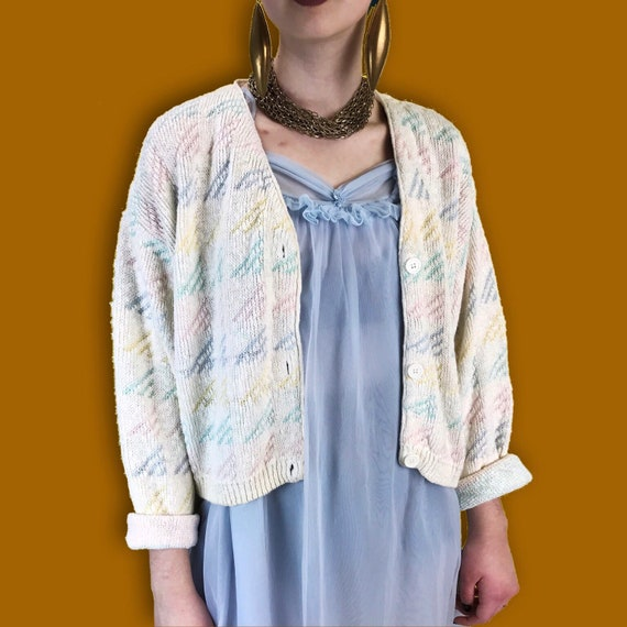 90's Pastel Rainbow Geometric Print Cardigan S/M - Colorful Cotton VTG Knitted Button Front Slouchy Jumper - Cropped Shape Everyday Sweater