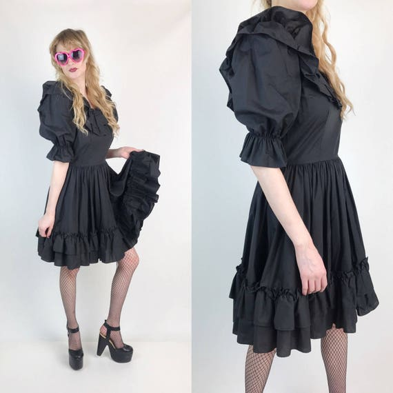 Vintage Black Ruffle Dress Small - Ruffle Twirling Lolita Circle Skirt Dress Romantic Girly Goth Puffy Sleeve Dancing Statement Party Dress
