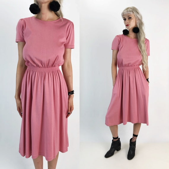 90's Pink Cotton Sundress Midi W/ Pockets Size Small - Dusty Rose Pink Casual Basic Day Dress w/ Pockets - High Waist Midi Dress LL Bean
