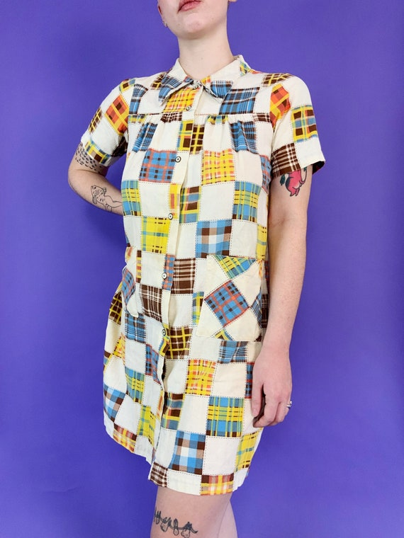 60's Vintage Patchwork Print House Dress Snap Fro… - image 7